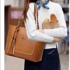 Gorgeous Genuine Leather Tassel Shopper Tote Bag
